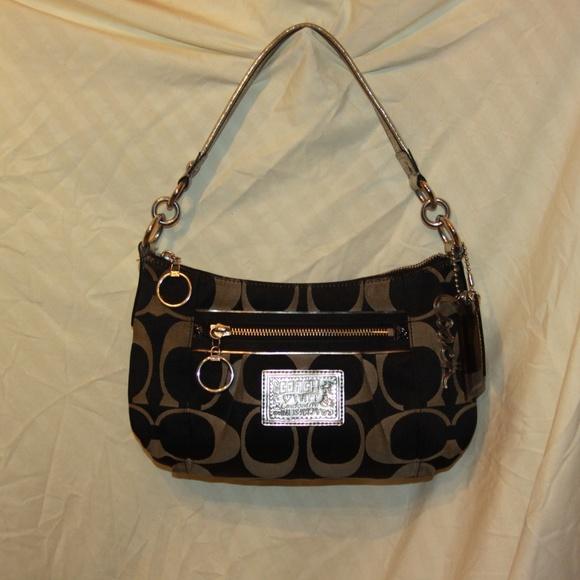 coach bags 15317 black silver poppy purse poshmark rh poshmark com